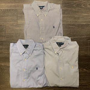 3 Polo Ralph Lauren Dress Shirts Bundle